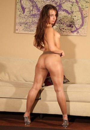 sophia sutra in shiny pantyhose and heels